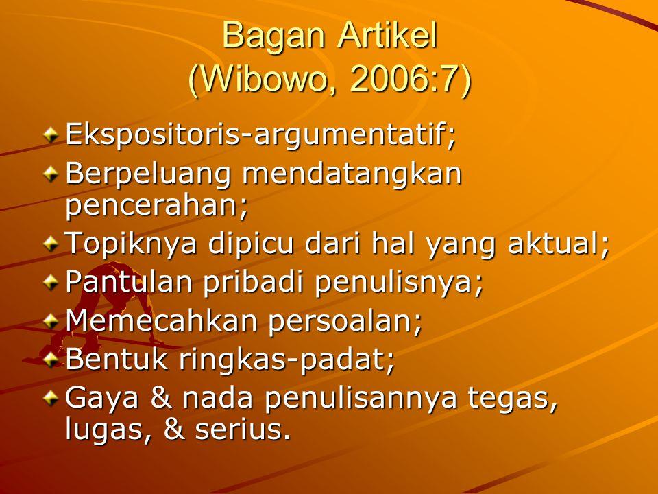 Bagan Artikel (Wibowo, 2006:7)