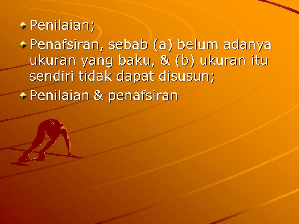 Penilaian; Penafsiran, sebab (a) belum adanya ukuran yang baku, & (b) ukuran itu sendiri tidak dapat disusun;