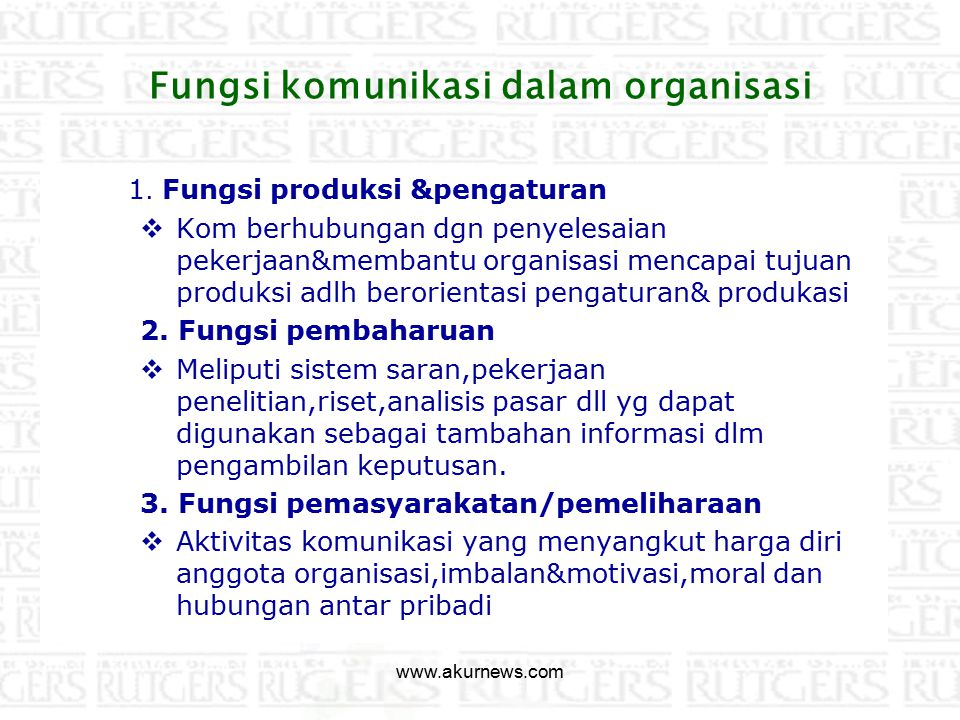 Fungsi komunikasi dalam organisasi
