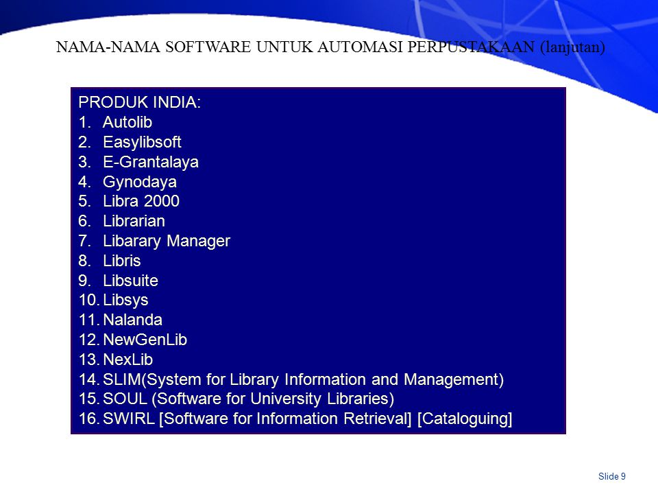 SOFTWARE INDONESIA: UNSLA DEWA PUSTAKA SIMPUS NCI/Bookman CDS-ISIS