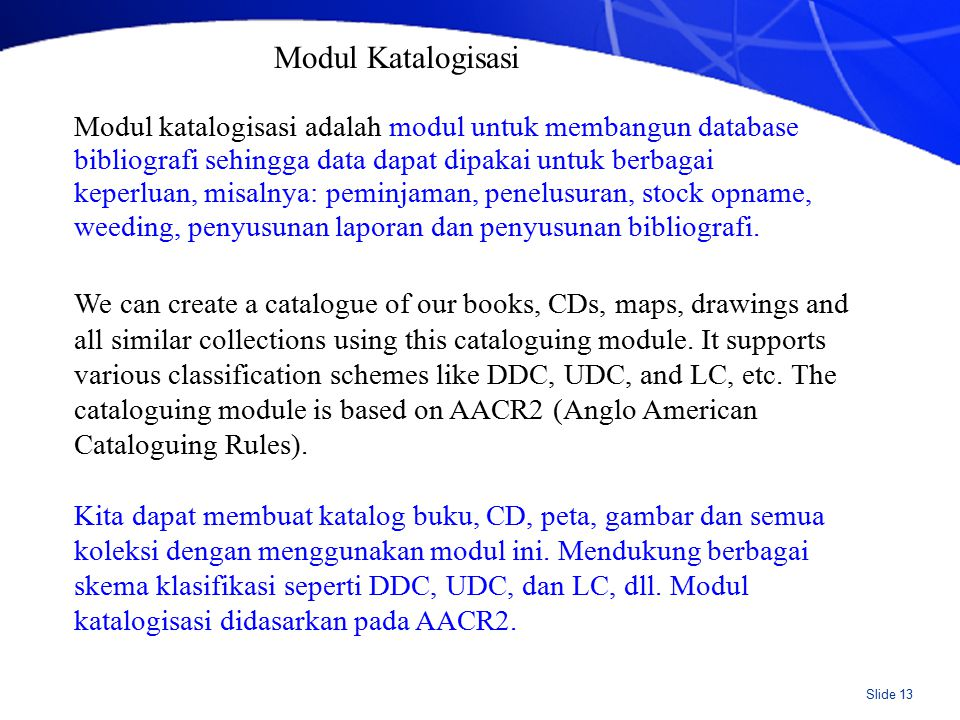 Spesifikasi Modul Katalogisasi