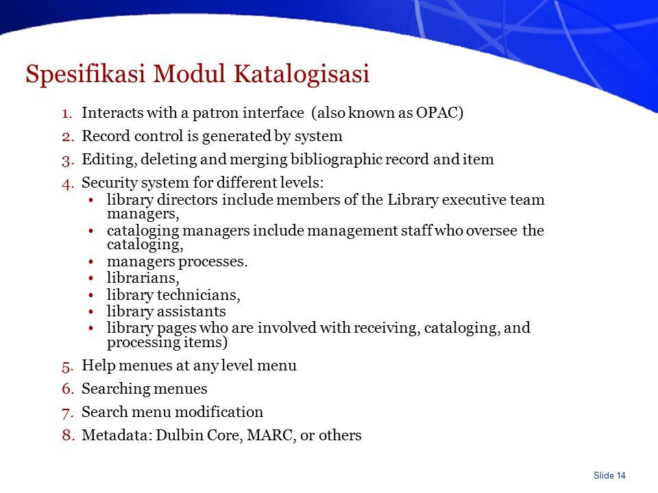 Spesifikasi Modul Katalogisasi (lanjutan)