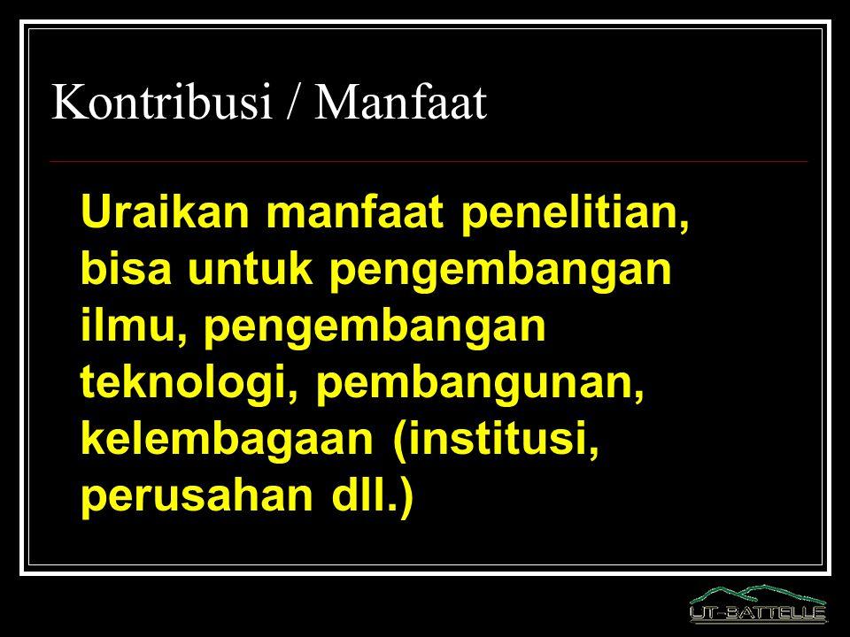 Kontribusi / Manfaat