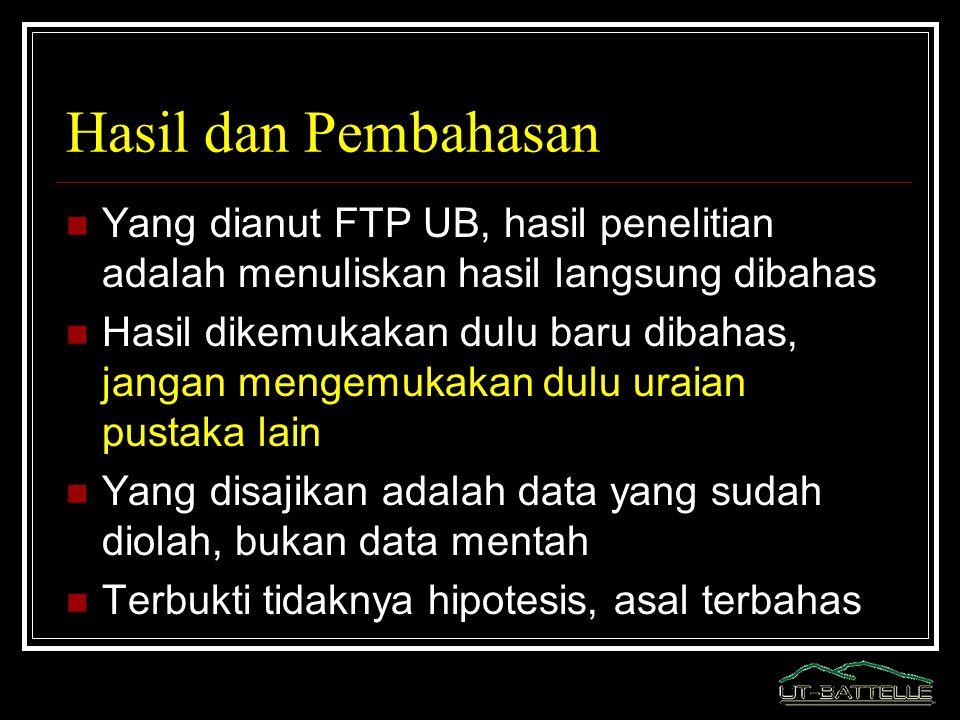 Hasil dan Pembahasan Yang dianut FTP UB, hasil penelitian adalah menuliskan hasil langsung dibahas.