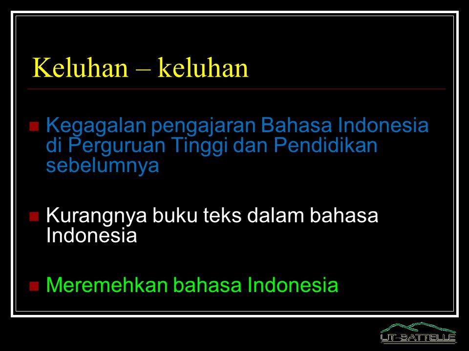 Keluhan – keluhan Kegagalan pengajaran Bahasa Indonesia di Perguruan Tinggi dan Pendidikan sebelumnya.