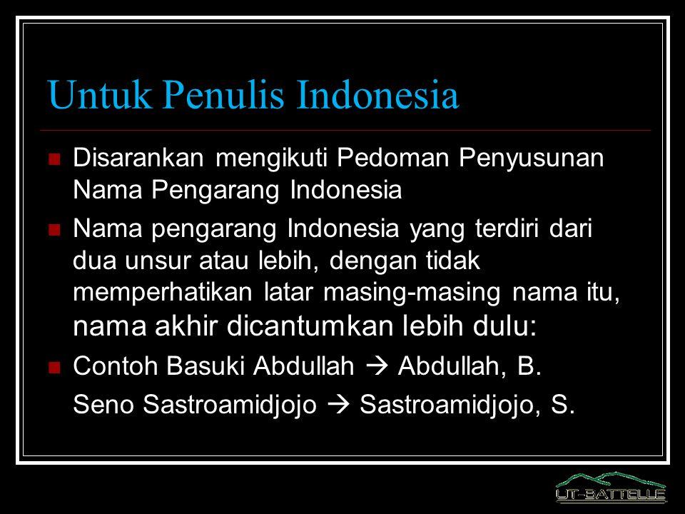 Untuk Penulis Indonesia