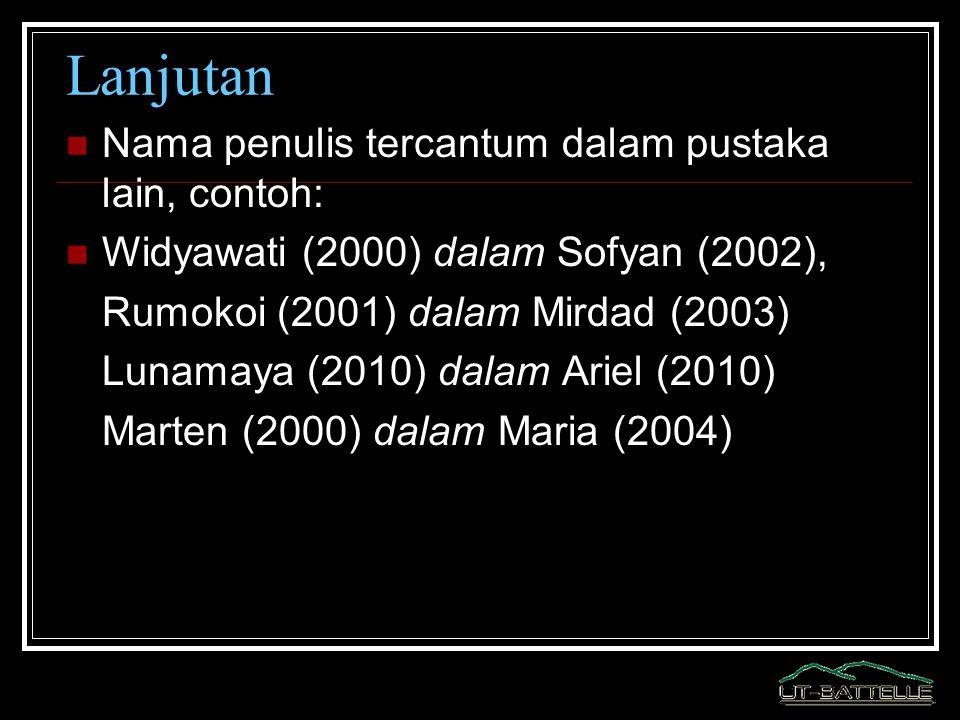 Lanjutan Nama penulis tercantum dalam pustaka lain, contoh: