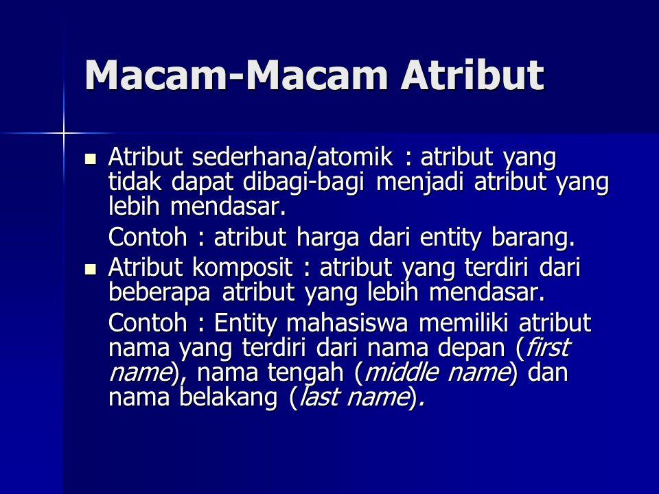 Macam-Macam Atribut Atribut sederhana/atomik : atribut yang tidak dapat dibagi-bagi menjadi atribut yang lebih mendasar.