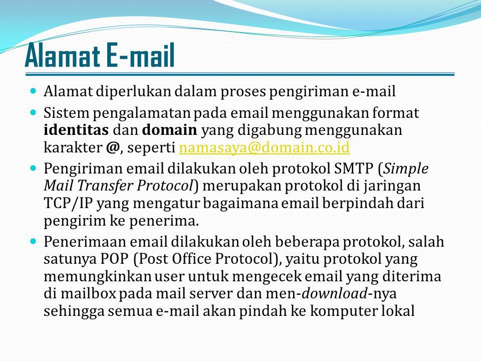 Alamat E-mail Alamat diperlukan dalam proses pengiriman e-mail