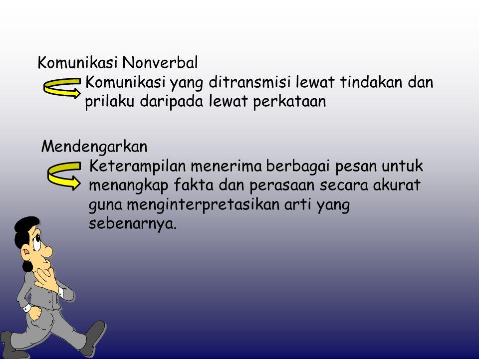Komunikasi Nonverbal Komunikasi yang ditransmisi lewat tindakan dan prilaku daripada lewat perkataan.