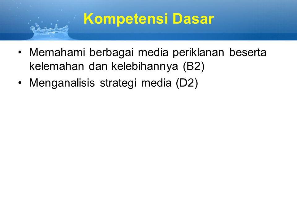 Kompetensi Dasar Memahami berbagai media periklanan beserta kelemahan dan kelebihannya (B2) Menganalisis strategi media (D2)
