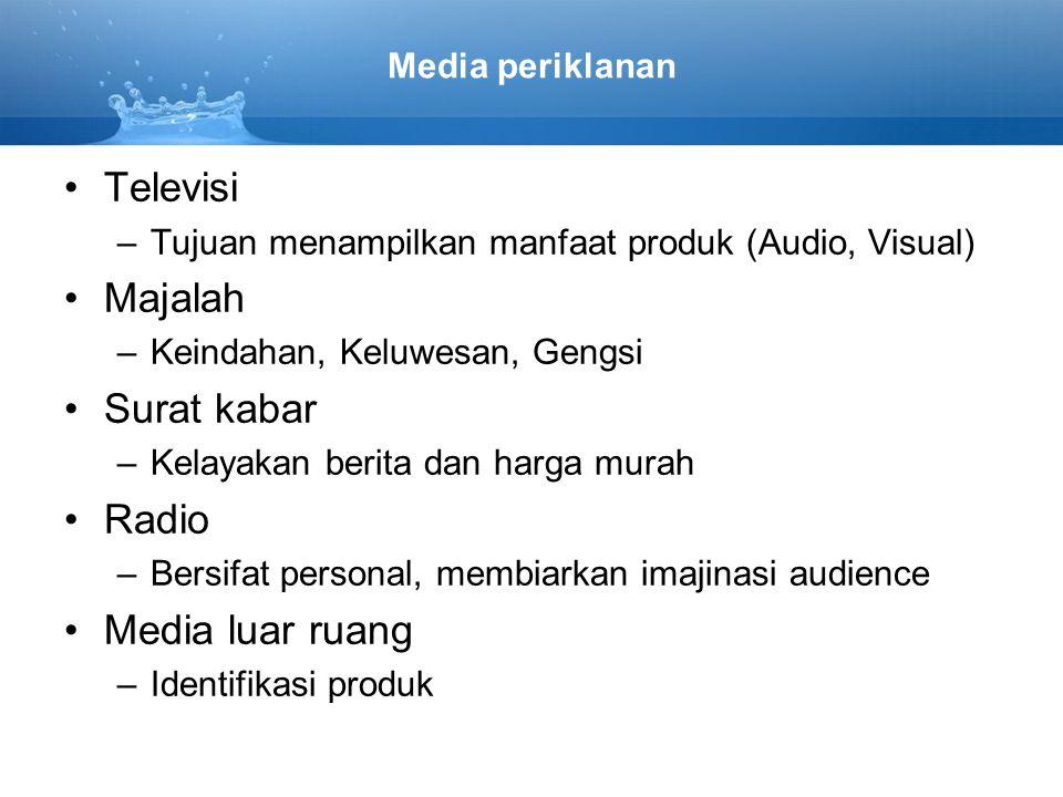 Televisi Majalah Surat kabar Radio Media luar ruang Media periklanan
