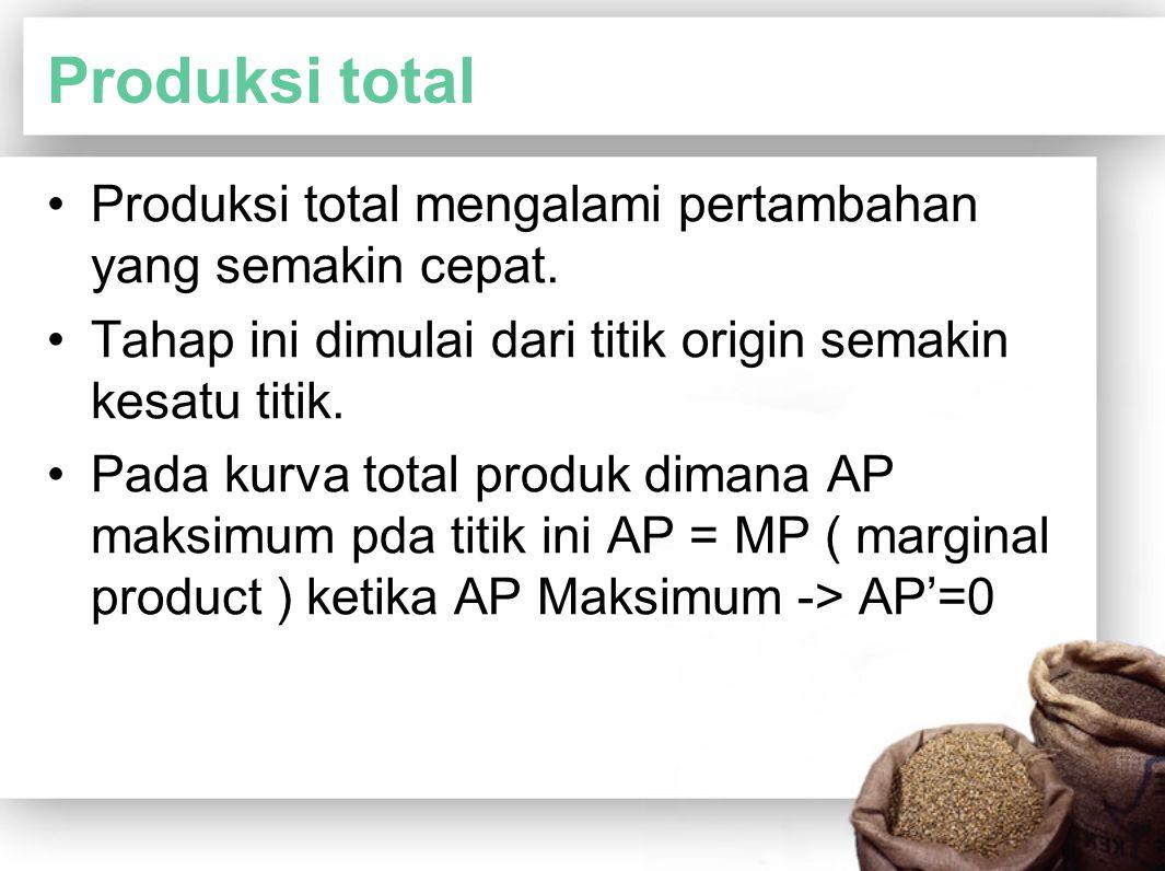 Produksi total Produksi total mengalami pertambahan yang semakin cepat. Tahap ini dimulai dari titik origin semakin kesatu titik.
