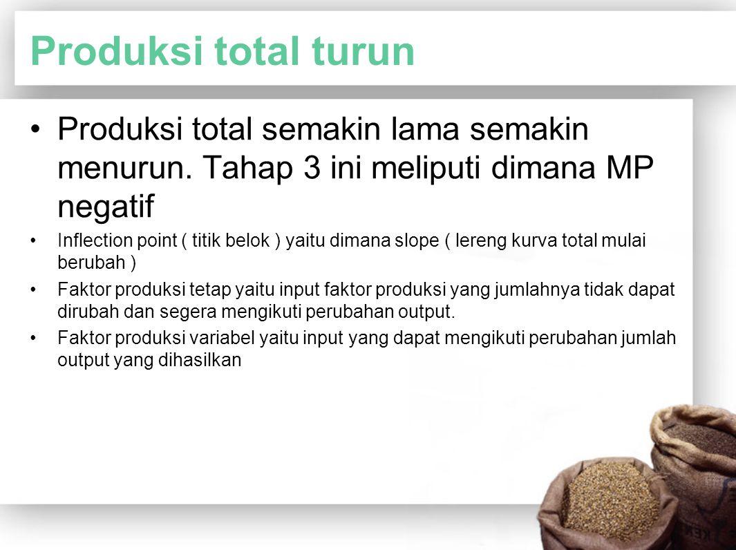 Produksi total turun Produksi total semakin lama semakin menurun. Tahap 3 ini meliputi dimana MP negatif.