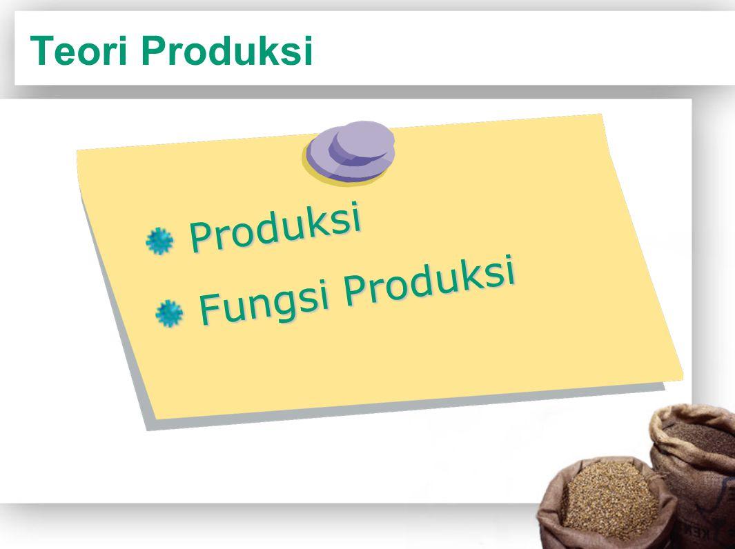 Teori Produksi Produksi Fungsi Produksi