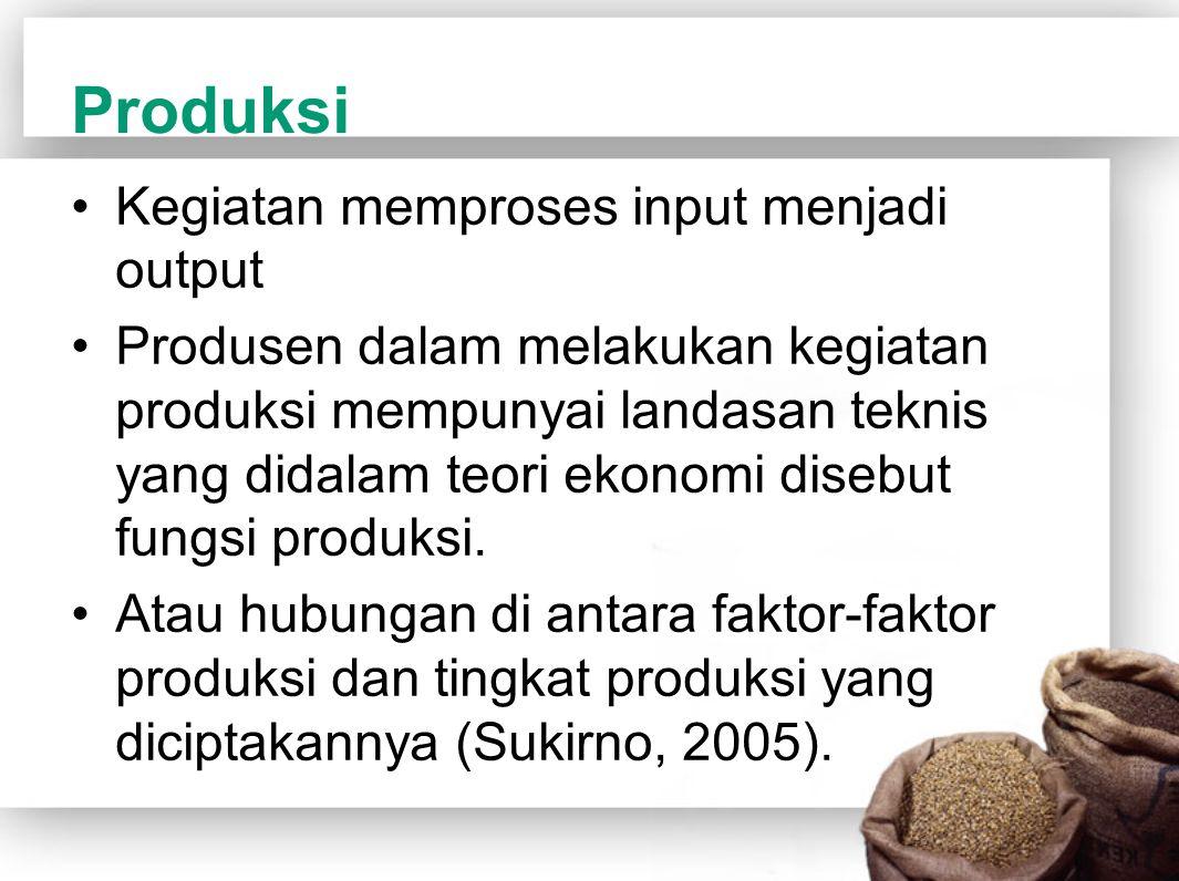 Produksi Kegiatan memproses input menjadi output