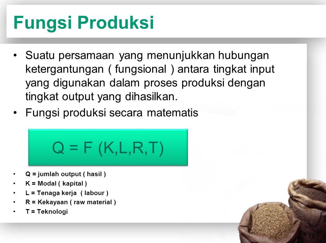 Fungsi Produksi Q = F (K,L,R,T)