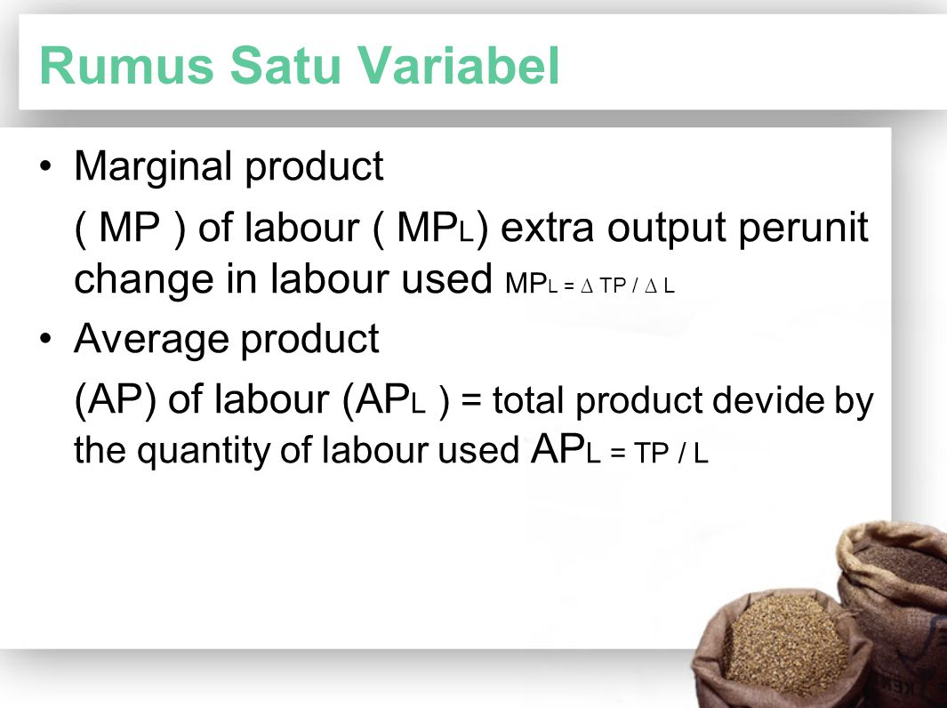 Rumus Satu Variabel Marginal product