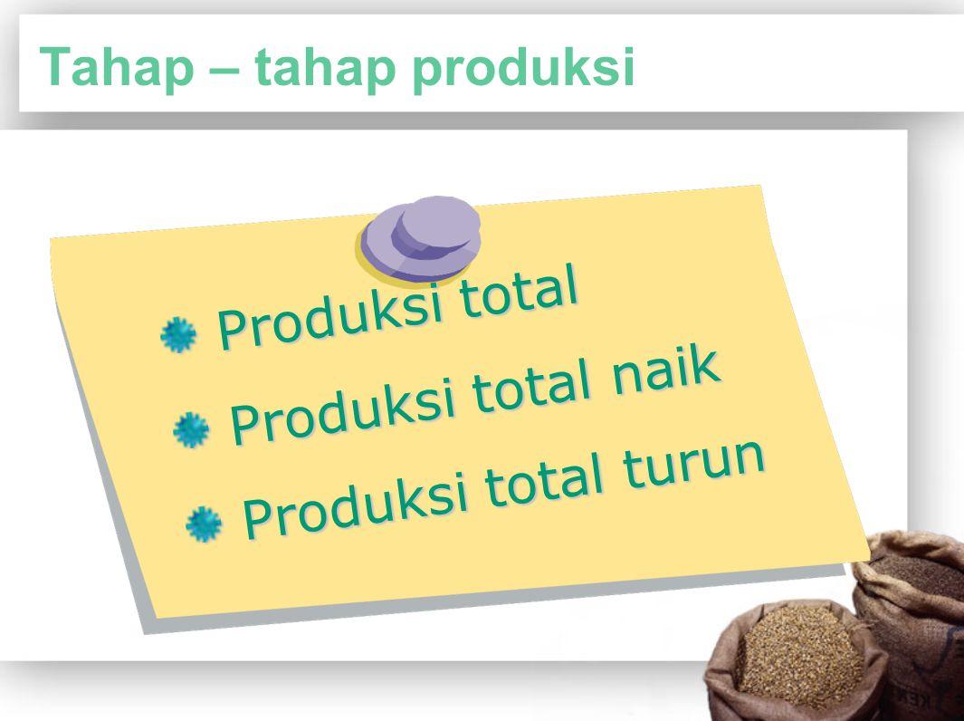 Tahap – tahap produksi Produksi total Produksi total naik Produksi total turun
