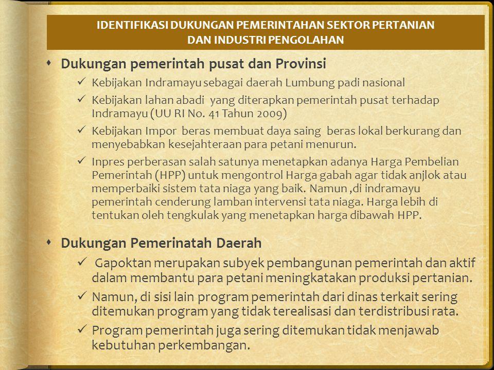 Kebijakan dari pemerintah pusat dan Provinsi