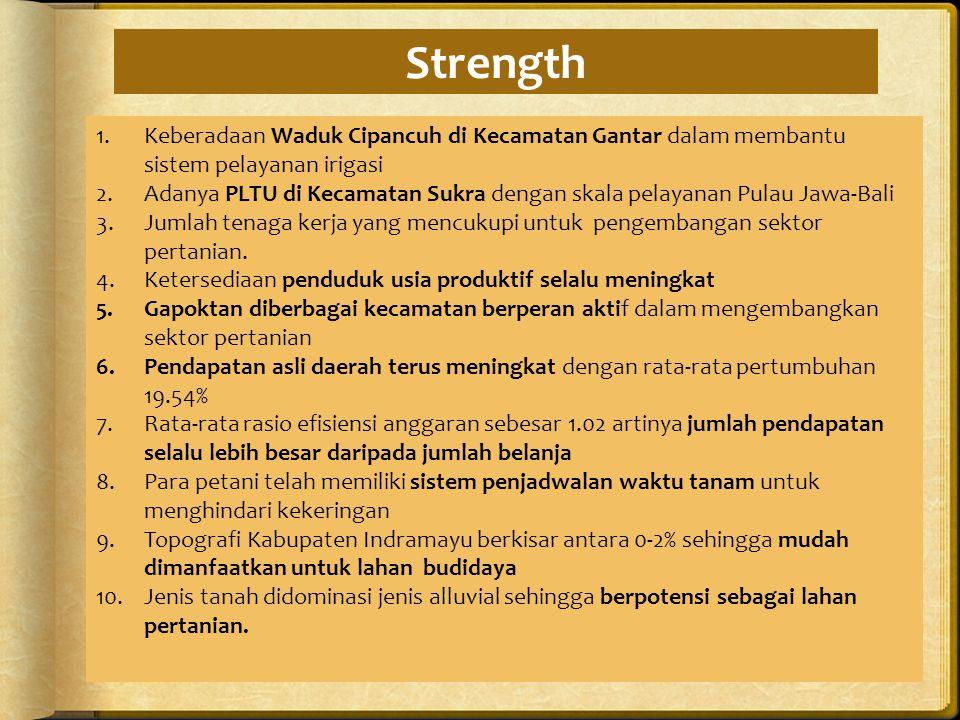 Strength Keberadaan Waduk Cipancuh di Kecamatan Gantar dalam membantu sistem pelayanan irigasi.
