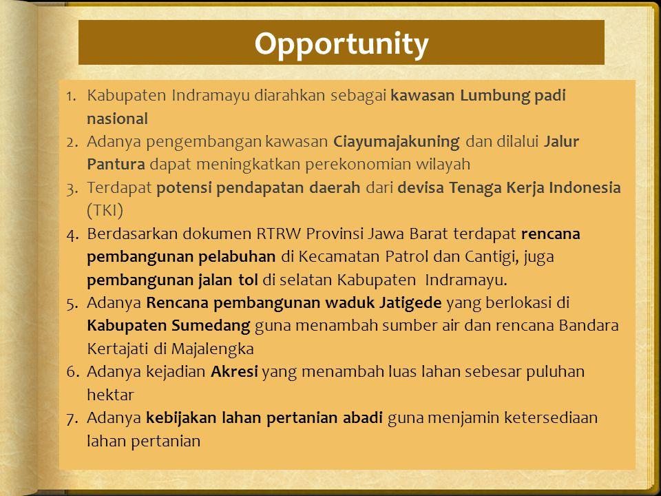 Opportunity Kabupaten Indramayu diarahkan sebagai kawasan Lumbung padi nasional.