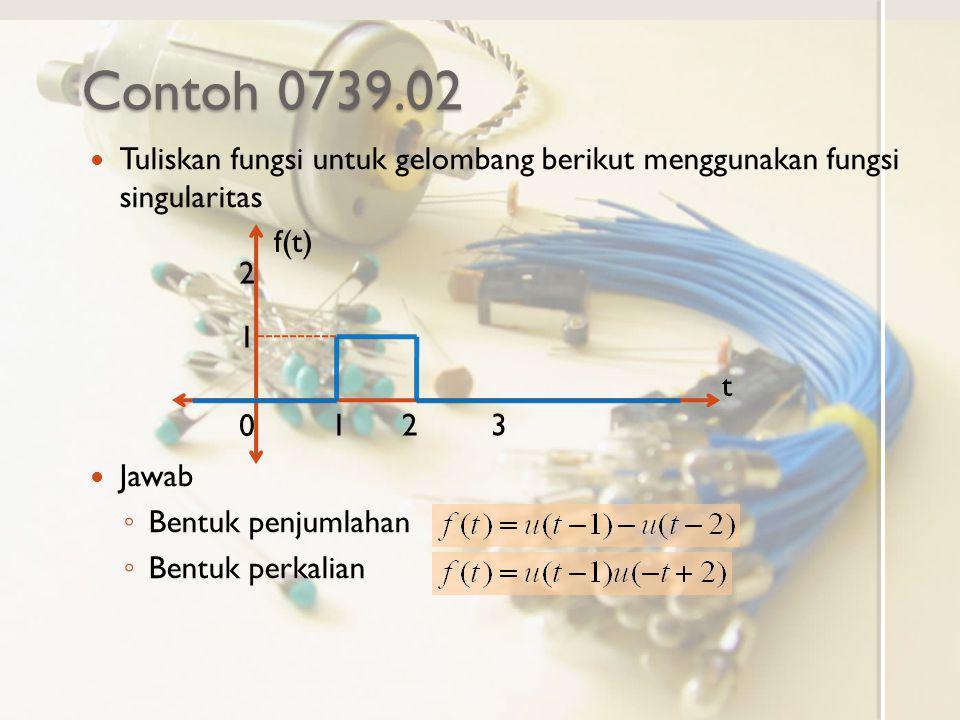 Contoh 0739.02 Tuliskan fungsi untuk gelombang berikut menggunakan fungsi singularitas. Jawab. Bentuk penjumlahan.