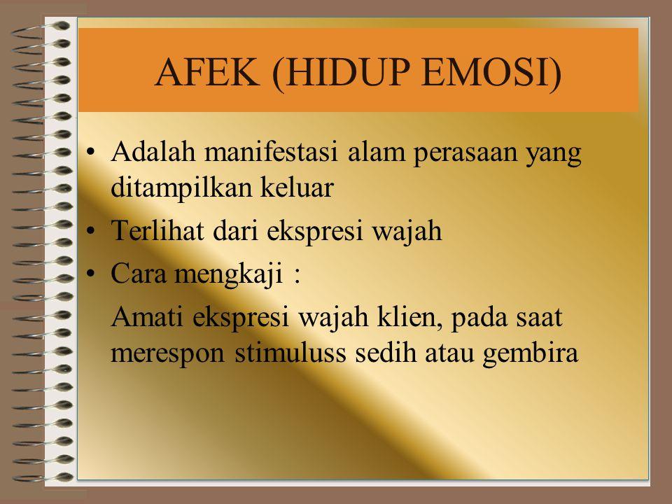 AFEK (HIDUP EMOSI) Adalah manifestasi alam perasaan yang ditampilkan keluar. Terlihat dari ekspresi wajah.