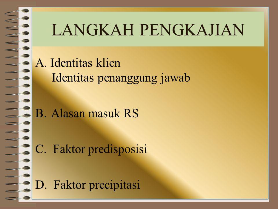 LANGKAH PENGKAJIAN A. Identitas klien Identitas penanggung jawab