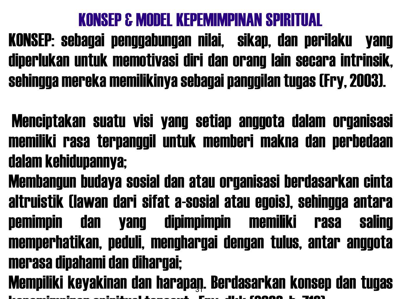 KONSEP & MODEL KEPEMIMPINAN SPIRITUAL
