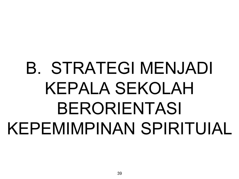 B. STRATEGI MENJADI KEPALA SEKOLAH BERORIENTASI KEPEMIMPINAN SPIRITUIAL