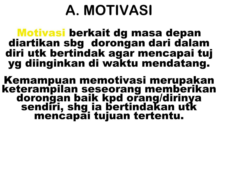 A. MOTIVASI Motivasi berkait dg masa depan diartikan sbg dorongan dari dalam diri utk bertindak agar mencapai tuj yg diinginkan di waktu mendatang.