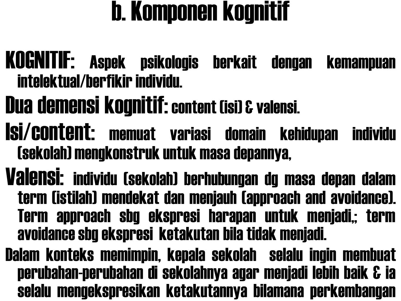 b. Komponen kognitif KOGNITIF: Aspek psikologis berkait dengan kemampuan intelektual/berfikir individu.
