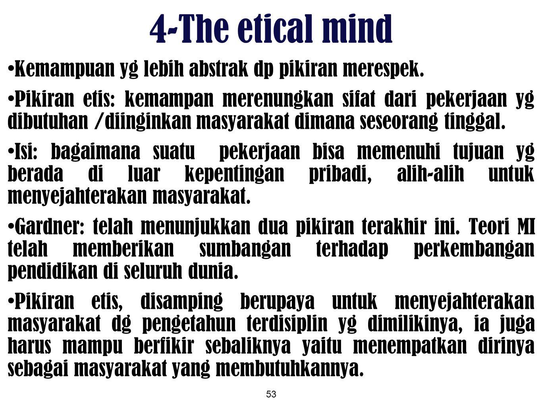 4-The etical mind Kemampuan yg lebih abstrak dp pikiran merespek.