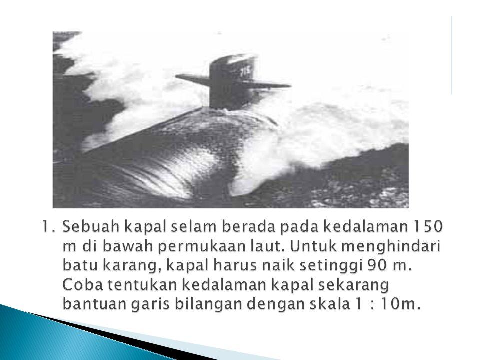 1. Sebuah kapal selam berada pada kedalaman 150 m di bawah permukaan laut.