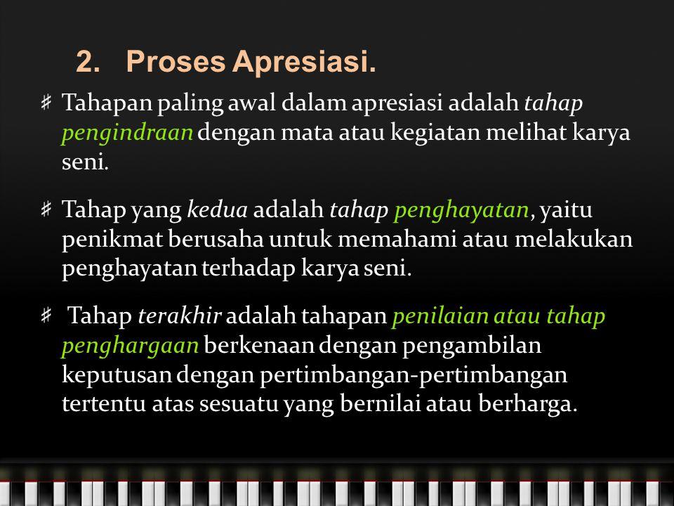 2. Proses Apresiasi. Tahapan paling awal dalam apresiasi adalah tahap pengindraan dengan mata atau kegiatan melihat karya seni.