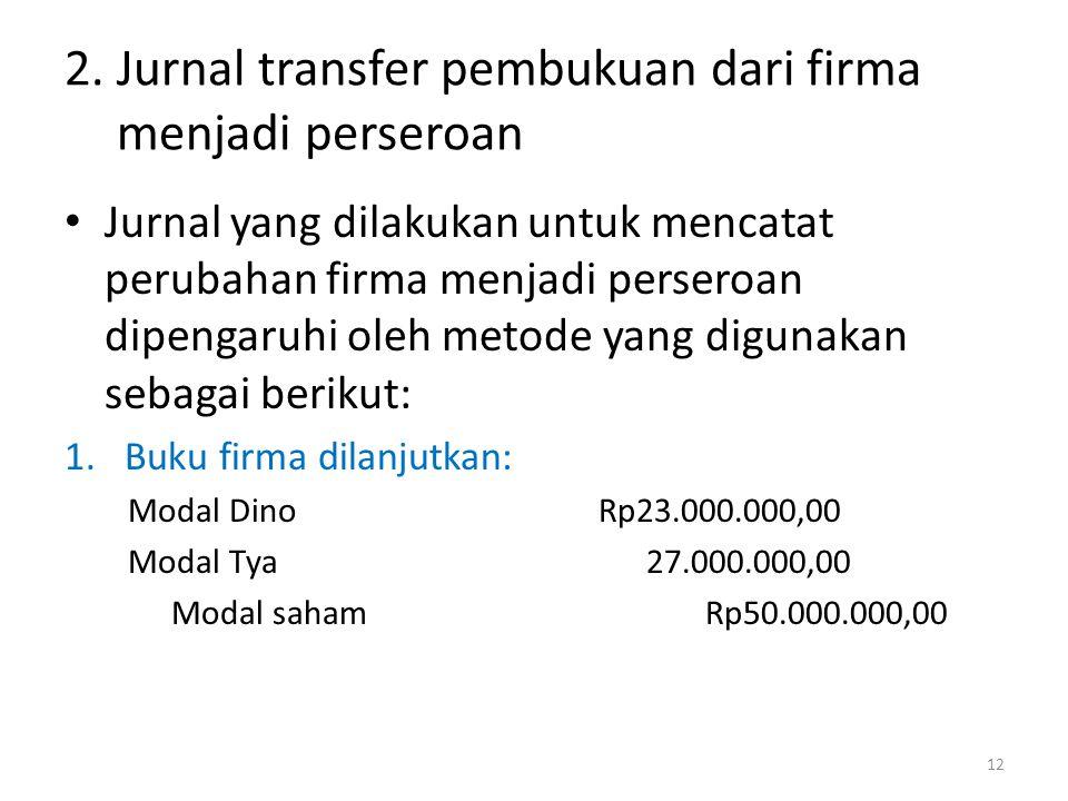 2. Jurnal transfer pembukuan dari firma menjadi perseroan
