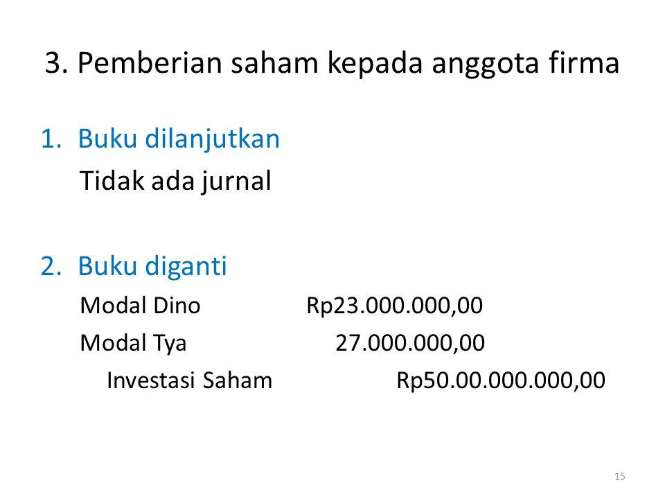 3. Pemberian saham kepada anggota firma