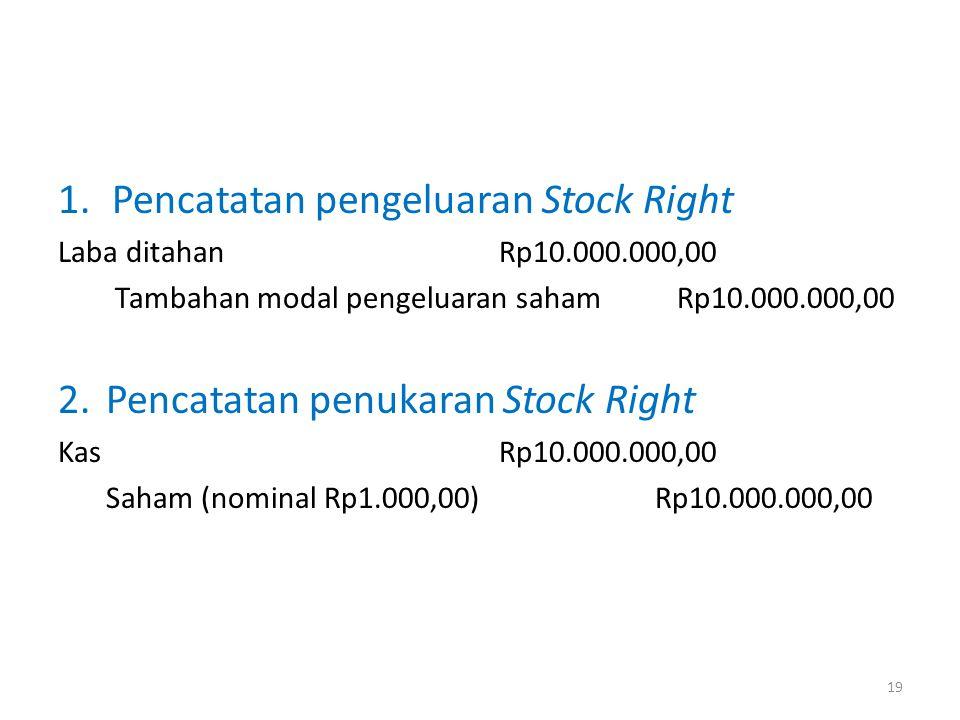 Pencatatan pengeluaran Stock Right