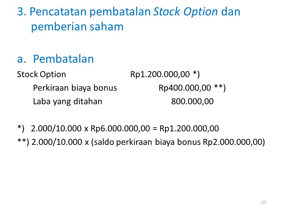 3. Pencatatan pembatalan Stock Option dan pemberian saham