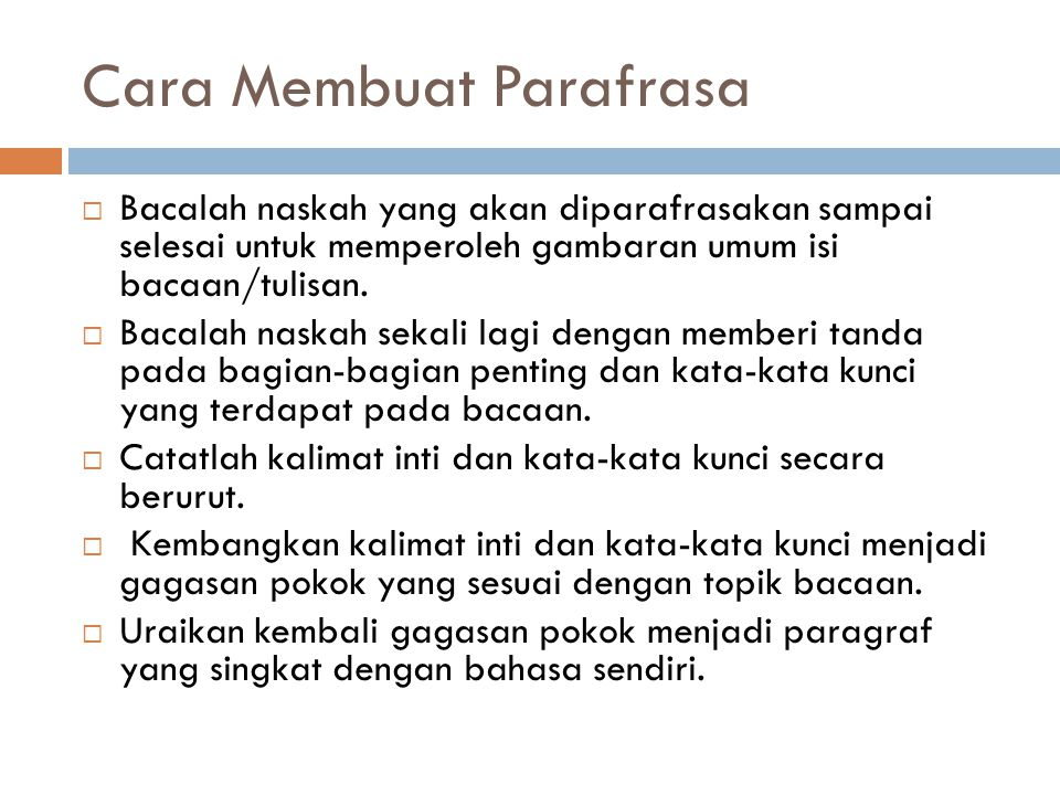 Cara Membuat Parafrasa