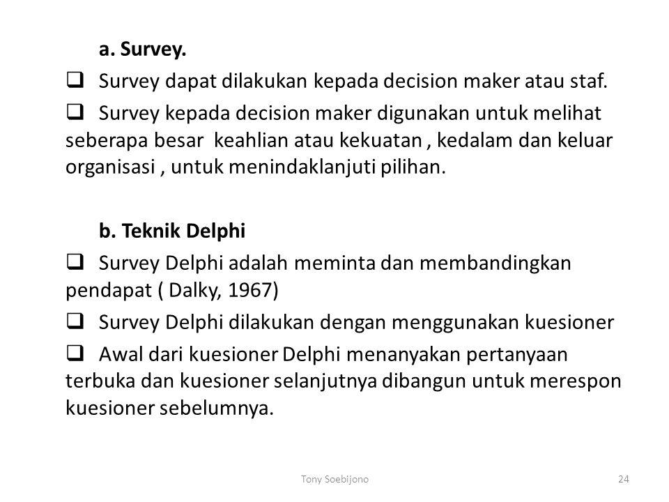 Survey dapat dilakukan kepada decision maker atau staf.