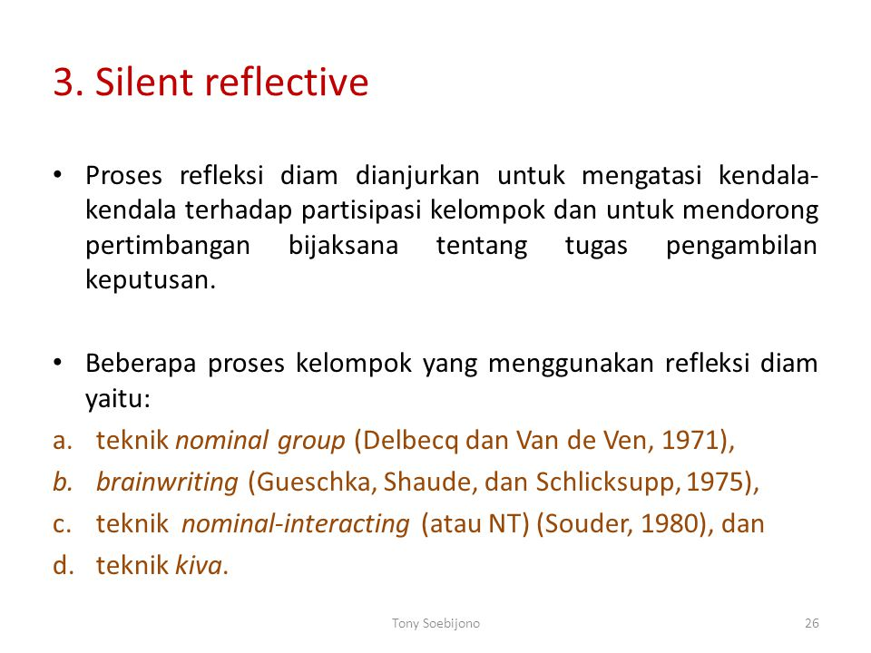 3. Silent reflective