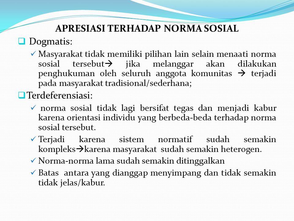 APRESIASI TERHADAP NORMA SOSIAL