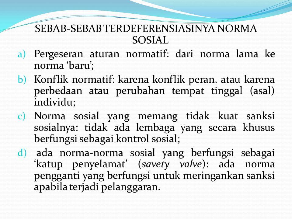 SEBAB-SEBAB TERDEFERENSIASINYA NORMA SOSIAL
