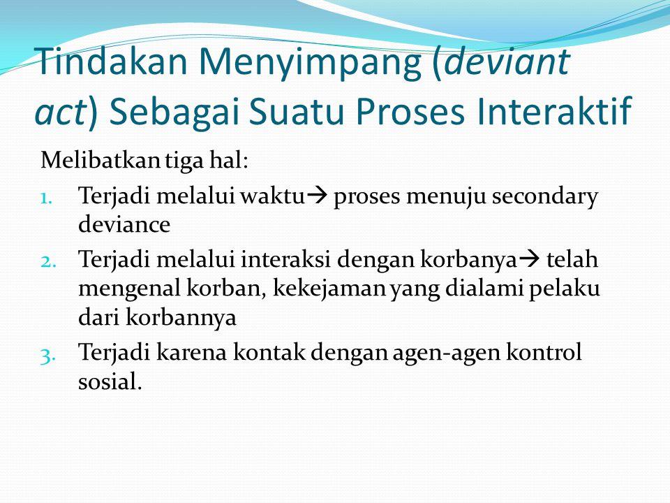 Tindakan Menyimpang (deviant act) Sebagai Suatu Proses Interaktif