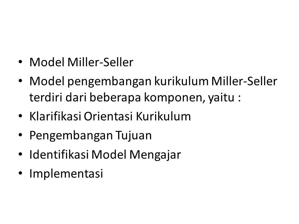 Model Miller-Seller Model pengembangan kurikulum Miller-Seller terdiri dari beberapa komponen, yaitu :