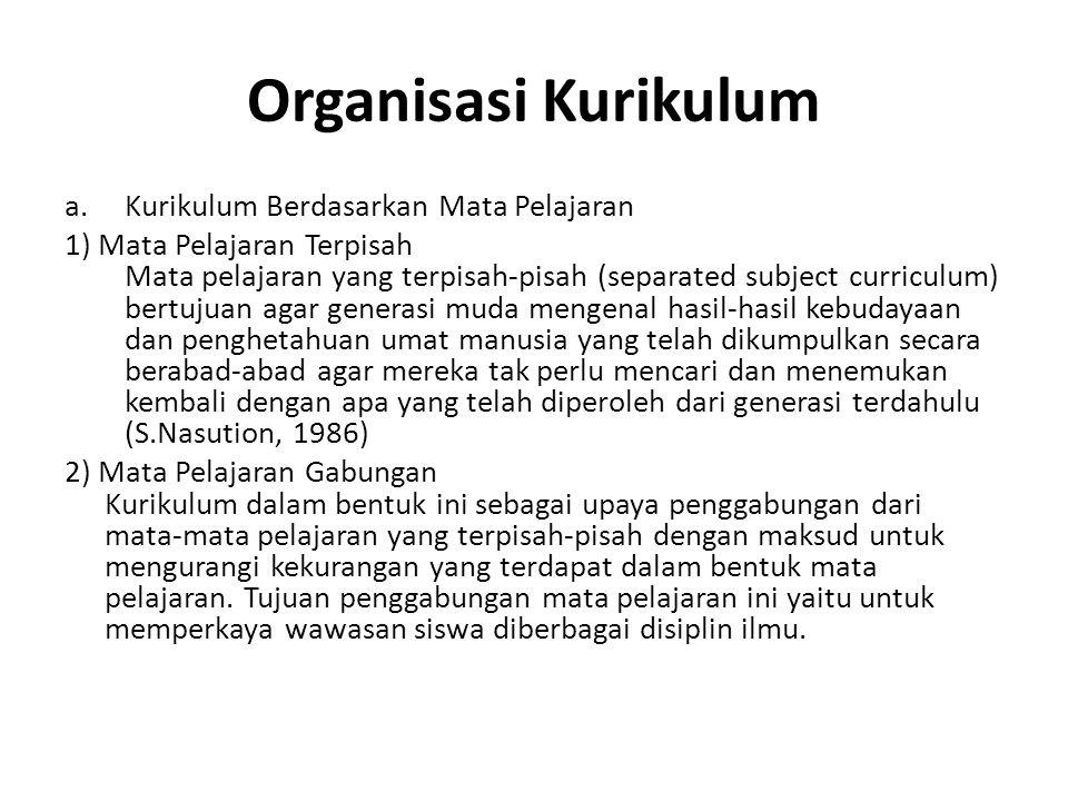 Organisasi Kurikulum Kurikulum Berdasarkan Mata Pelajaran