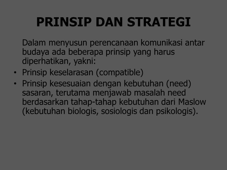 PRINSIP DAN STRATEGI Dalam menyusun perencanaan komunikasi antar budaya ada beberapa prinsip yang harus diperhatikan, yakni: