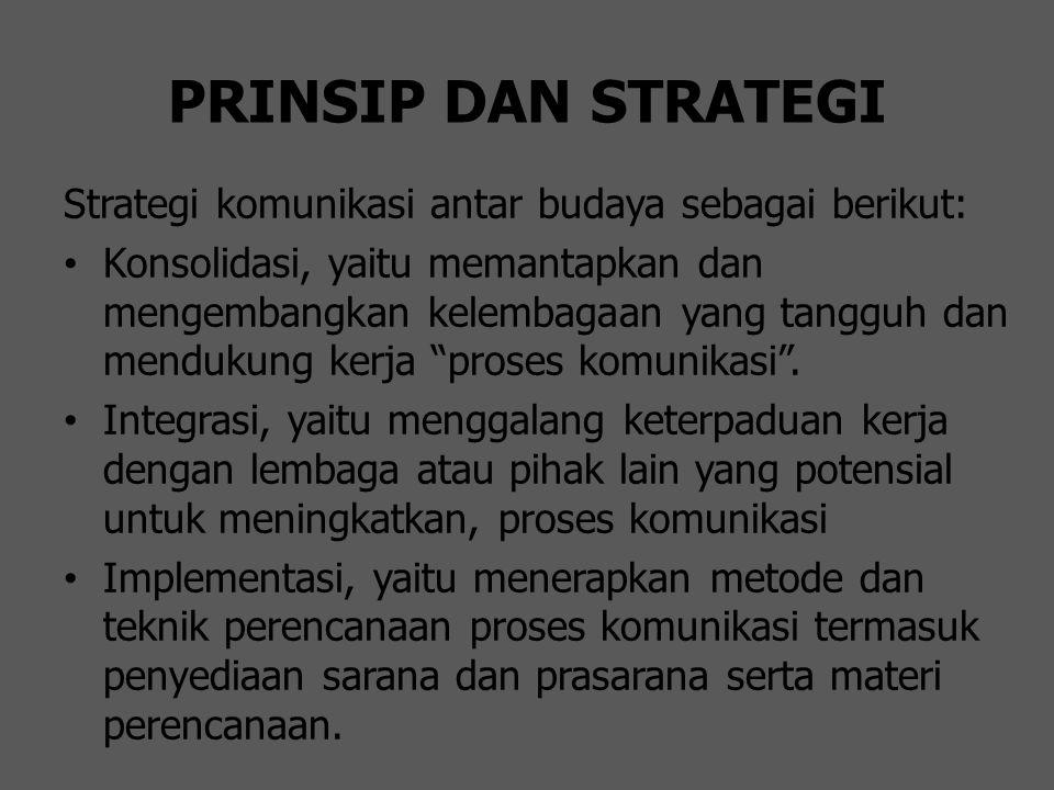 PRINSIP DAN STRATEGI Strategi komunikasi antar budaya sebagai berikut: